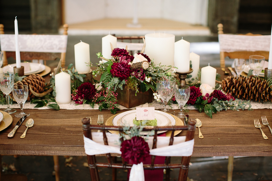 Elegant Woodsy Themed Wedding Tablscape / photo by Ashley Cook Photography / as seen on www.BrendasWeddingBlog.com