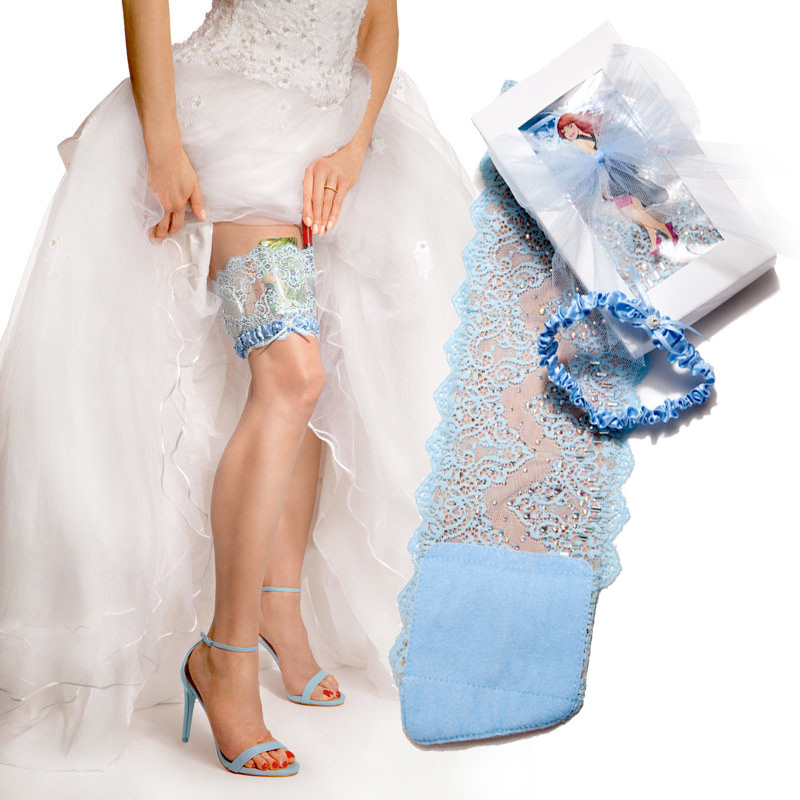 Bridal Blue Wedding Collection Garter from GirlyGoGarter / as seen on www.BrendasWeddingBlog.com
