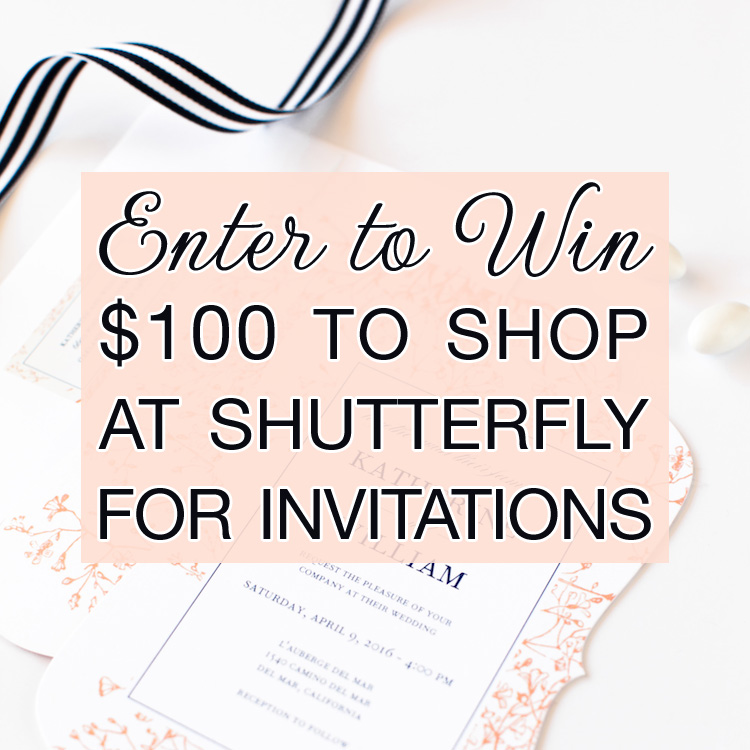 Enter to Win $100 to Shop at Shutterfly for Invitations on www.BrendasWeddingBlog.com