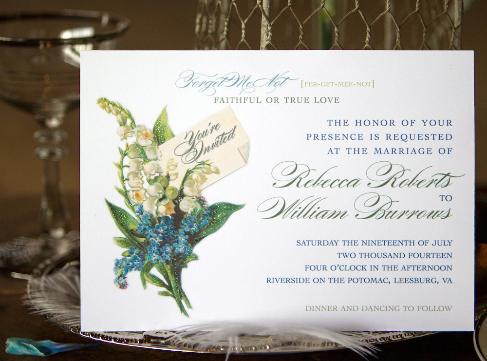 Lily of the Valley Vintage Style Wedding Invitation - available as a custom DIY template / as seen on www.BrendasWeddingBlog.com