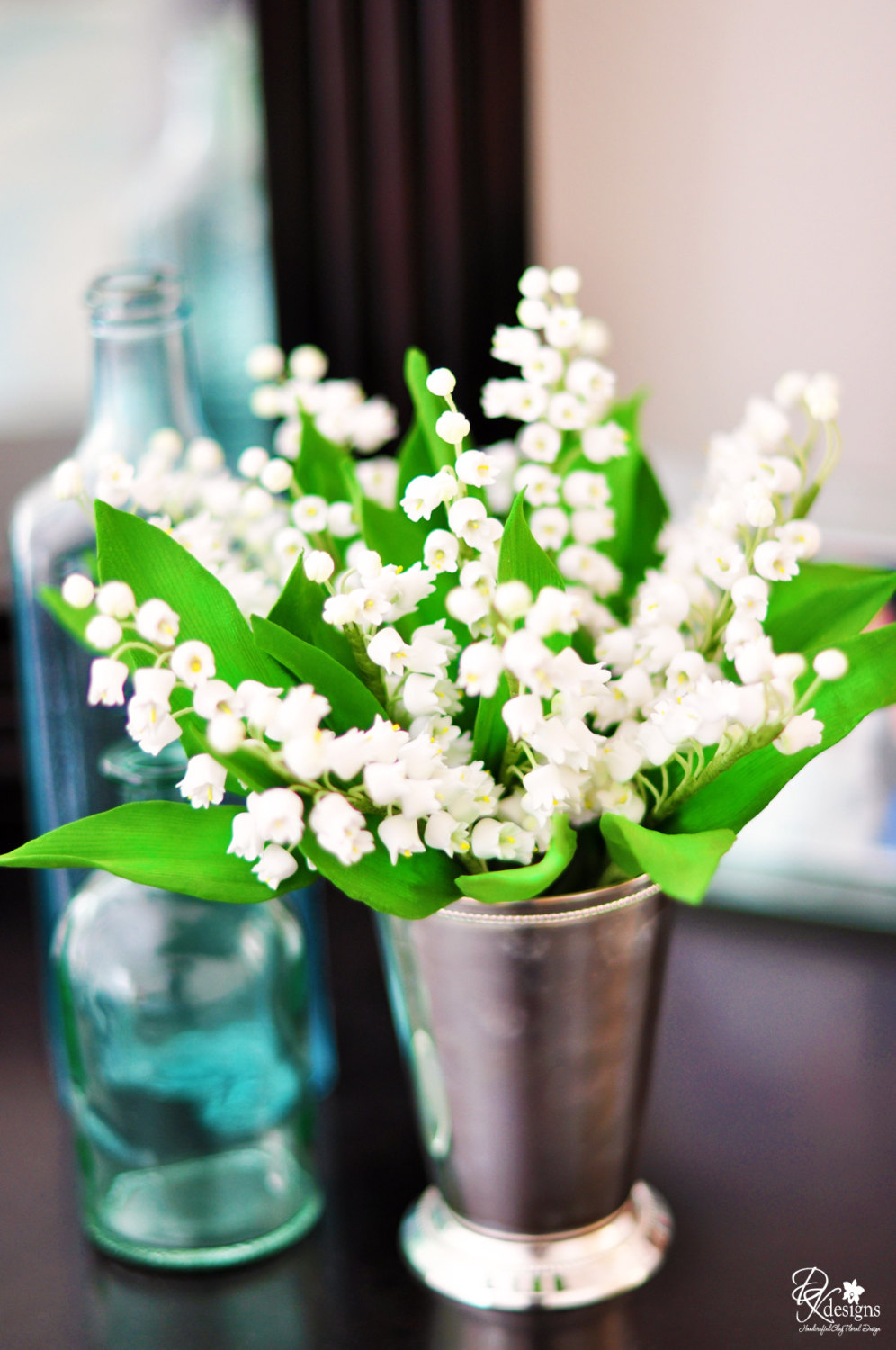 Lily of the Valley Flowers in a Sterling Silver Mint Julep Cup from DK Designs