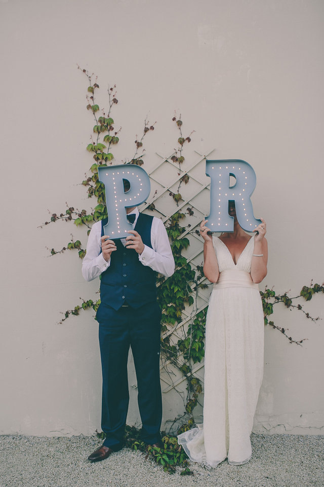 Vintage Style Marquee Lights for a Bride & Groom