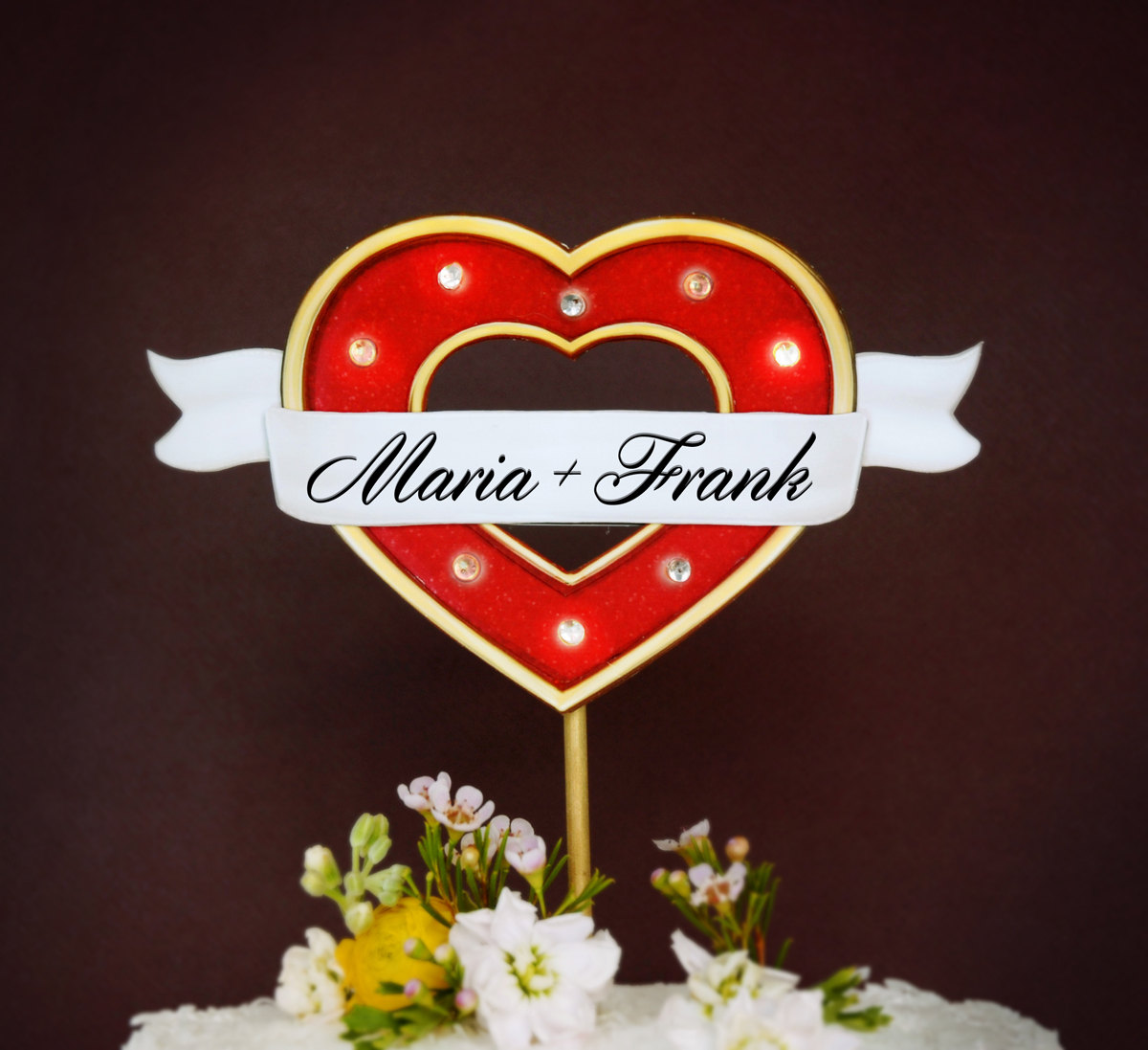 Custom Marquee Lights Wedding Cake Topper with Heart / as seen on www.BrendasWeddingBlog.com