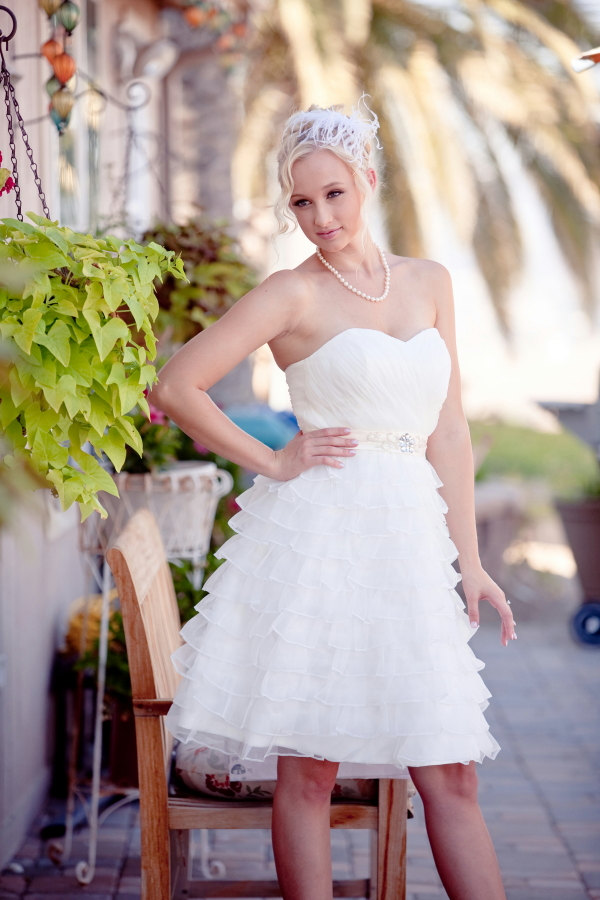 Short Wedding Dress with Ruffles from The Little White Dress / as seen on www.BrendasWeddingBlog.com