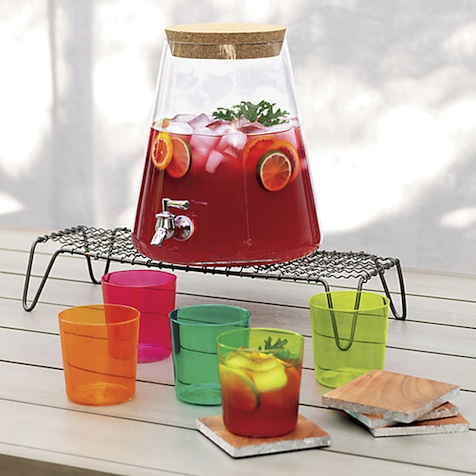 Serve up 7 quarts of your beverage of choice (maybe a sangria!) in this attractive, handmade Glass Beverage Dispenser