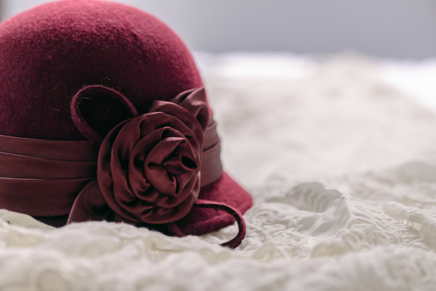 The Bride's Maroon Hat / photo by Annabelle Denmark Photography