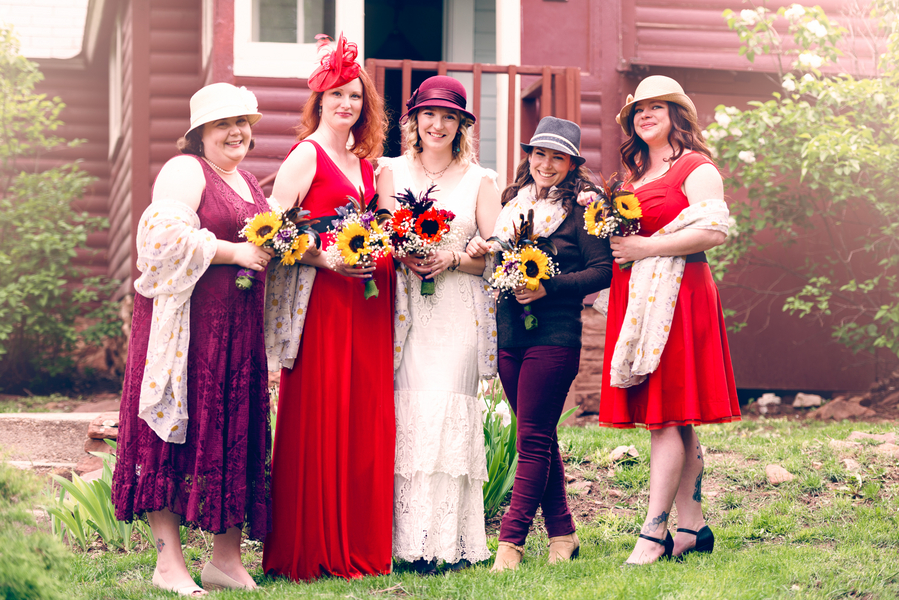 The Bride and her Bridesmaids in their Hats / photo by Annabelle Denmark Photography