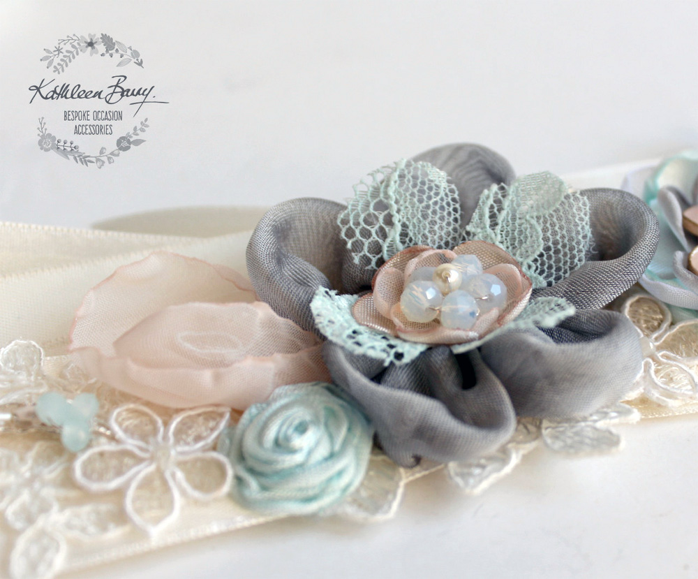 Wedding Dress Sash Belt with Lace in soft turquoise, blush pink and grey from Kathleen Barry Bespoke Occasion Accessories