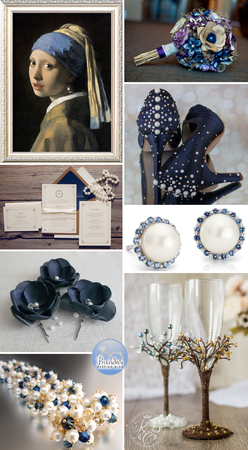 A Classically Rustic Chic Navy Blue and Gold Wedding Inspiration Board with Pearls