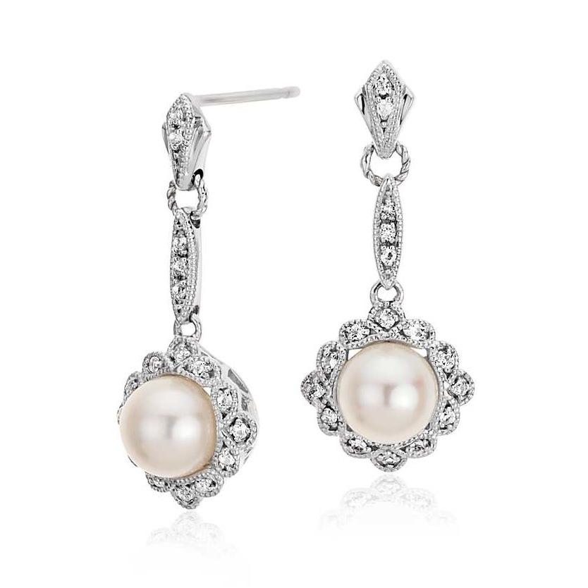 vintage-inspired freshwater cultured pearl earrings, $85