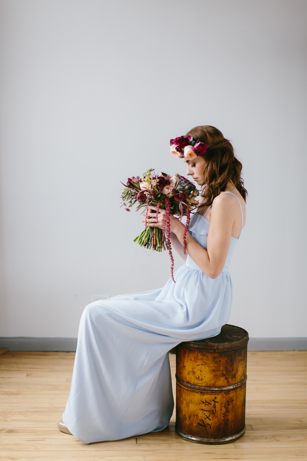 Pretty contrast between pale blue bridesmaids dress and deep burgundy bouquet / by Wallflower Designs / photo by Maggie Fortson Photography