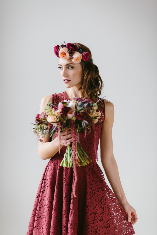 Oversized Floral Crown with fully opened garden roses and ranunculus blooms / by Wallflower Designs / photo by Maggie Fortson Photography