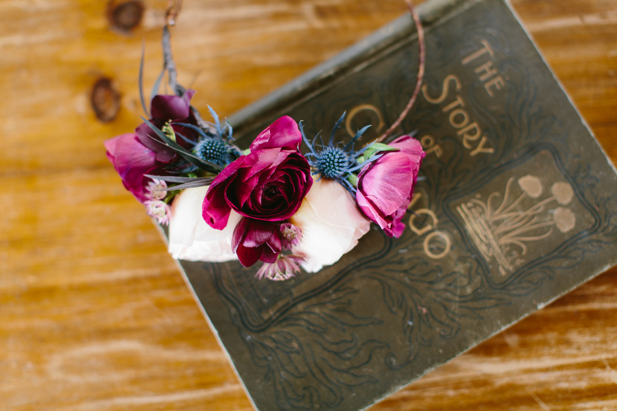Floral Crown in Marsala Wine Color from Wallflower Designs / photo by Maggie Fortson Photography