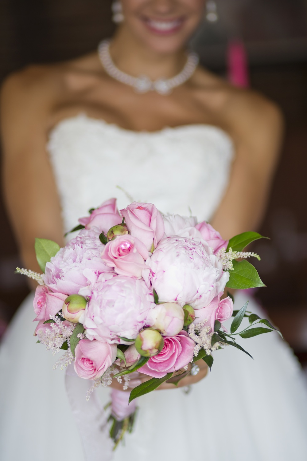 Pink Wedding Bouquet with Peonies and Roses + a Crystal Pink Pick in a Rose  from Media Florist / photo by Krista Patton Photography