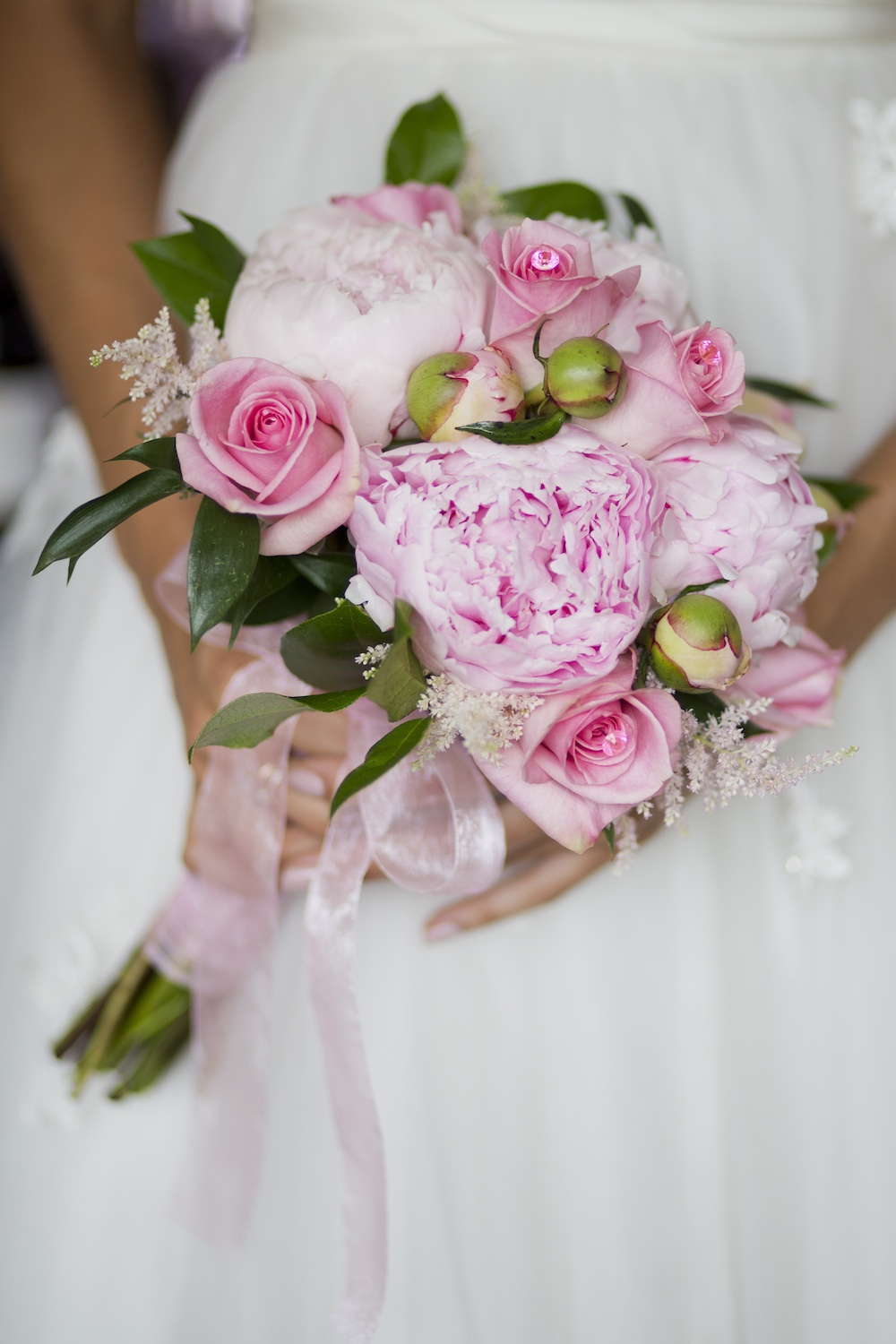 Pretty Lush Pink Wedding Bouquet with Peonies and Roses from Media Florist / photo by Krista Patton Photography