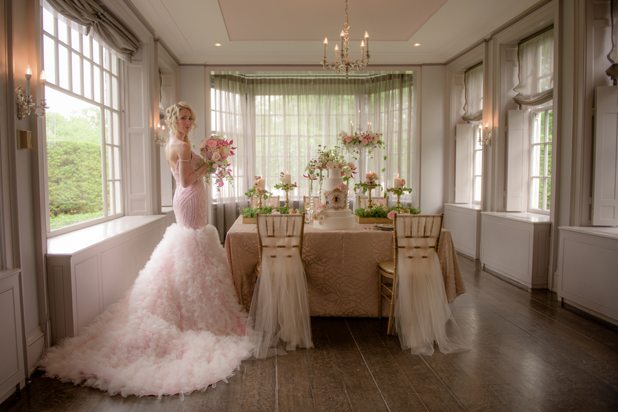 A Stunning Pink Sequined Wedding Gown by Sharleez Concept / Photo by collective67
