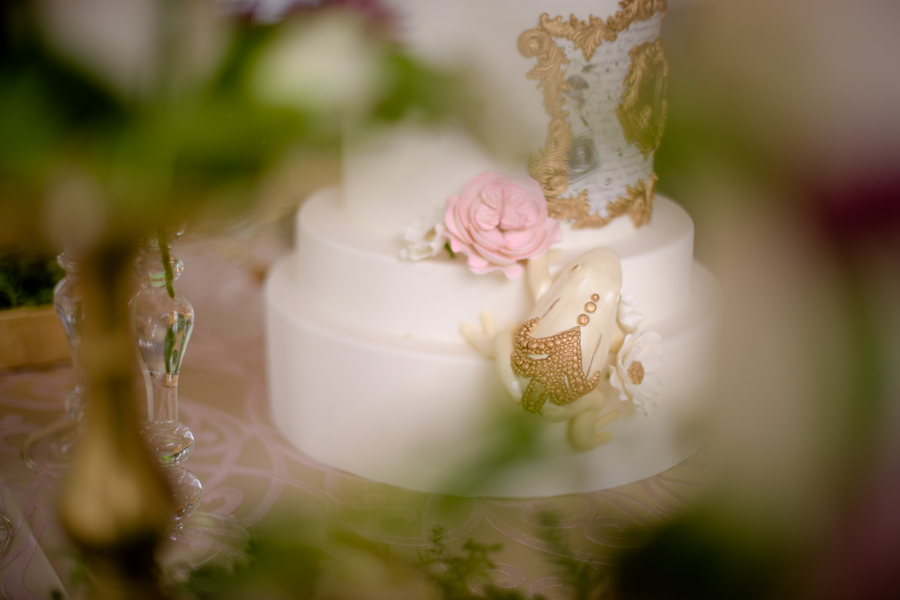 A Fairytale Wedding Cake with a Gold Embellished Frog by The Cake Parlour / Photo by collective67