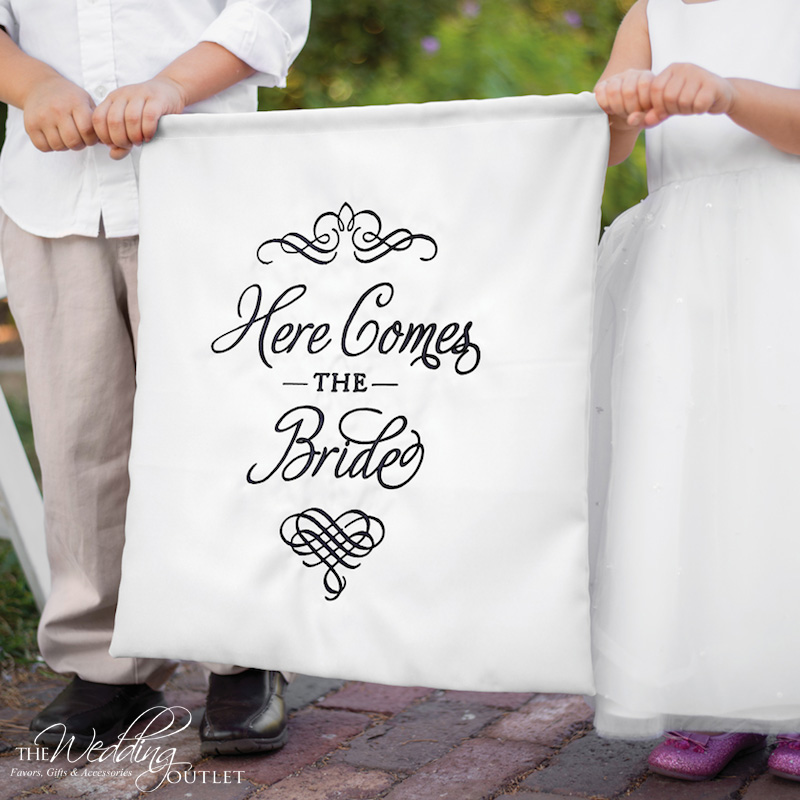 Create a Personalized Wedding Ceremony with a Customized Banner for the Ring Bearer and Flower Girl to Carry Down the Aisle / from The Wedding Outlet