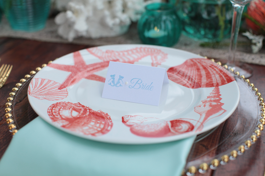 Seashell Place Setting for an Under the Sea Inspired Wedding  / photo by Tab McCausland Photography