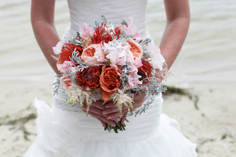 Gorgeous Pink and Orange Wedding Bouquet / photo by Tab McCausland Photography