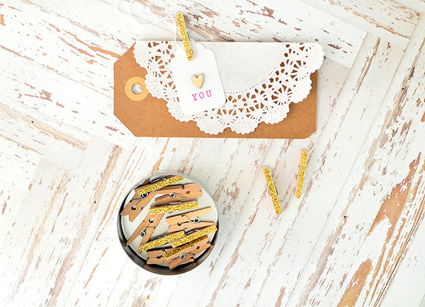 The Perfect Gift Packaging Idea : Add a Pretty Gold Glittered Clothespin to Your Gift Tags  | from Thurston Post
