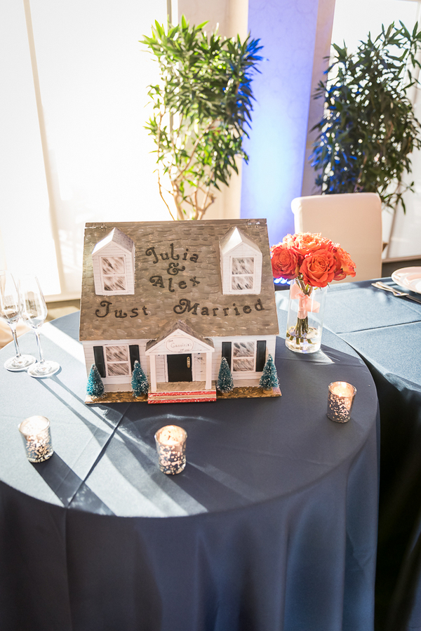 Love how the Card Box is a Replica of the Couples House - New Jersey Real Wedding / photo by Havana Photography