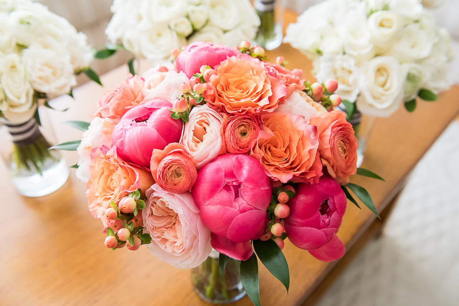 Pretty Pink and Orange Wedding Bouquet + White Bridesmaids Bouquets / photo by Havana Photography / Florals by Barbara Bell Design