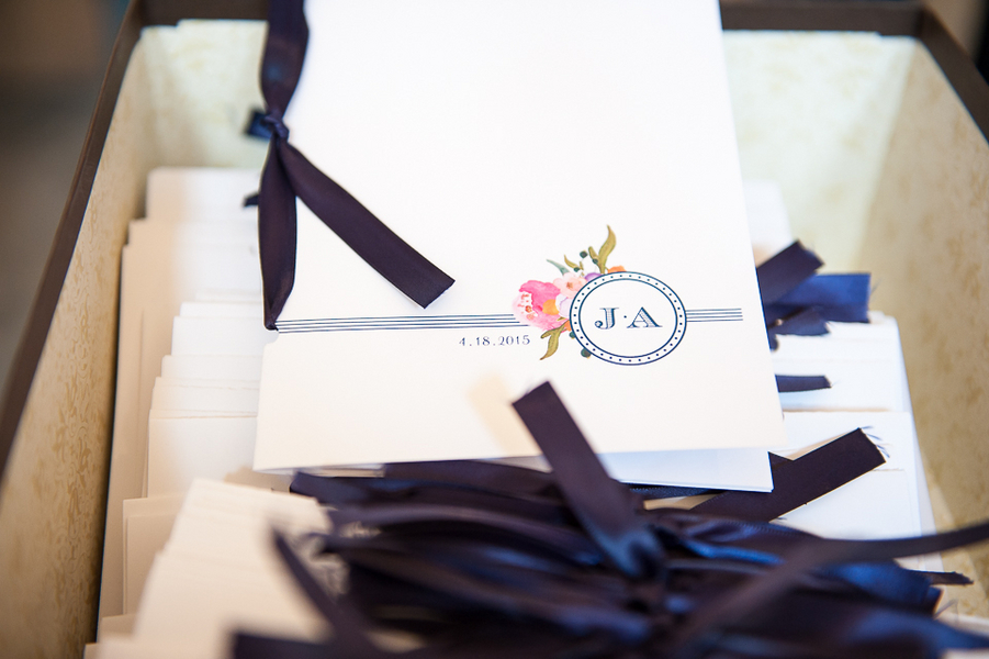 Pretty Wedding Programs with Navy Blue Ribbons / photo by Havana Photography