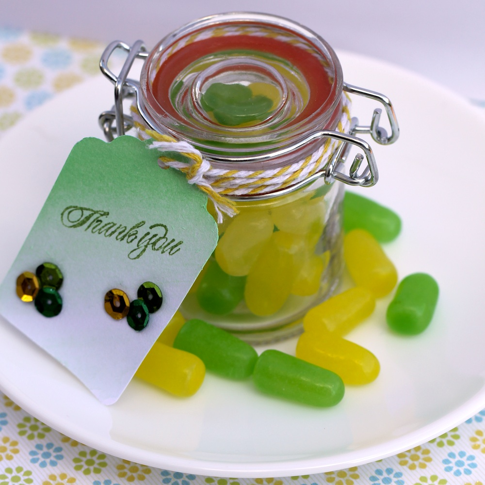 Candy Favors in Mini Mason Jars : match the candy to your party colors