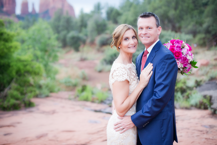 Happy Bride and Groom in Sedona Arizona - Elopement Wedding / photo by Love My Life Photography