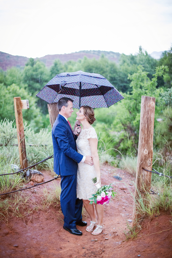 A Hot Pink + Blue Arizona Elopement Wedding in the Middle of Thunderstorms / photo by Love My Life Photography