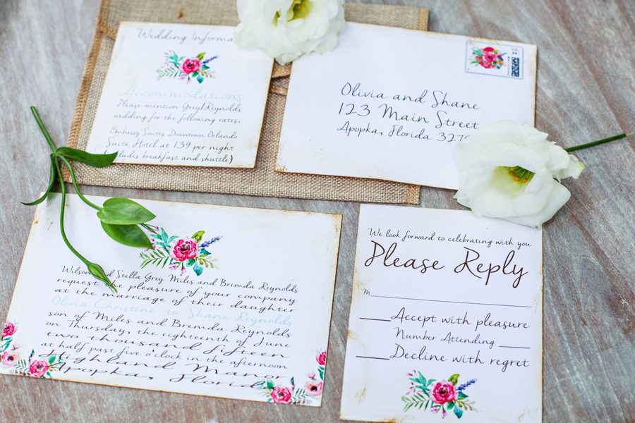 Pretty Vintage Inspired Floral Wedding Invitation Suite by The Invitation Lounge / photo by Tab McCausland Photography