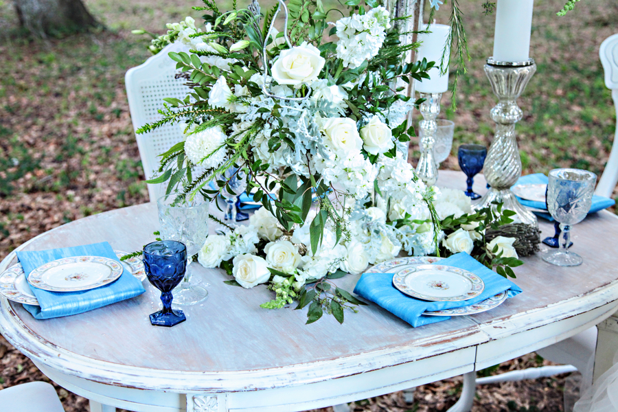 Pretty Blue + White Wedding Tablescape with Vintage Farm Table + Chairs / photo by Tab McCausland Photography
