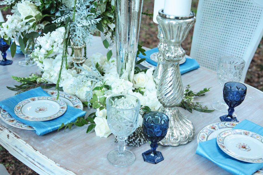 Pretty Blue + White Vintage Farm Wedding Tablescape with Silver Accents / photo by Tab McCausland Photography