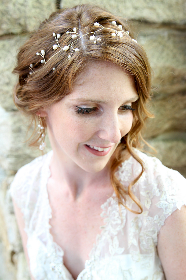 Pretty Lace Wedding Dress and Bridal Hairstyle / photo by Crystal Image Photography