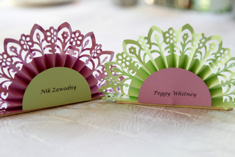 Pretty Purple and Green Fan Place Cards / photo by Crystal Image Photography