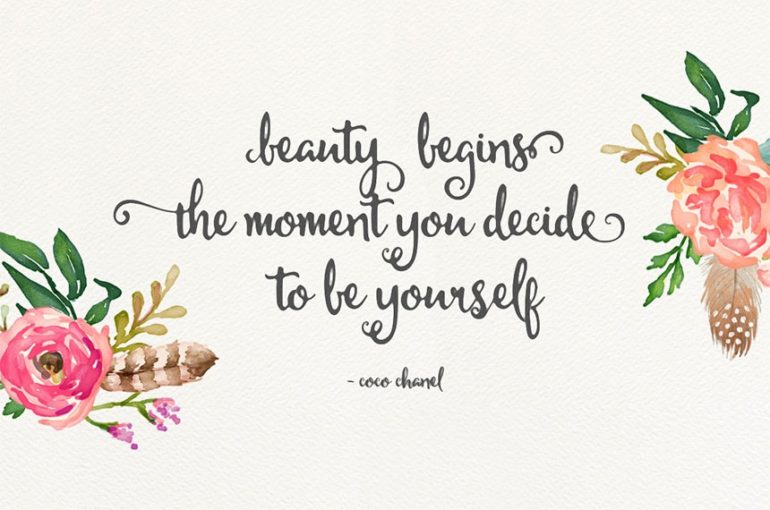 Beauty Begins the Moment You Decide to be Yourself / Coco Chanel - Michael Modern Hand Lettering Typeface