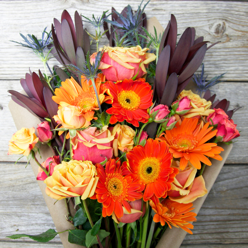 Unique Fall Bouquet :  Sangria  - festive and colorful mix of roses, spray roses, daisies and more