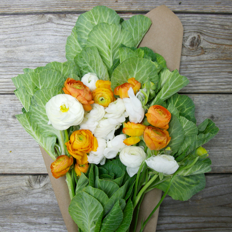 Unique Fall Bouquet :  Boo-Quet  - stunning Orange and White Ranunculus