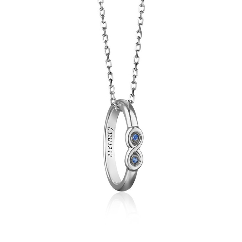 """Sapphire """"Eternity"""" Poesy Ring Necklace $180"""