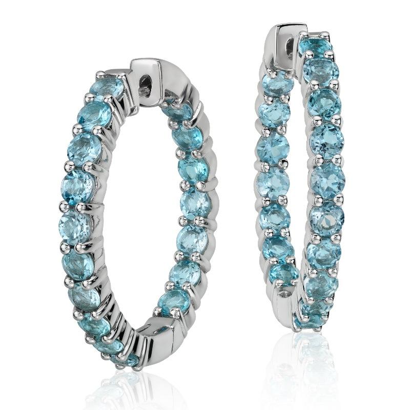 Blue Topaz Hoop Earrings $155