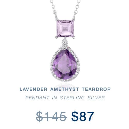 lavender amethyst teardrop pendant in sterling silver