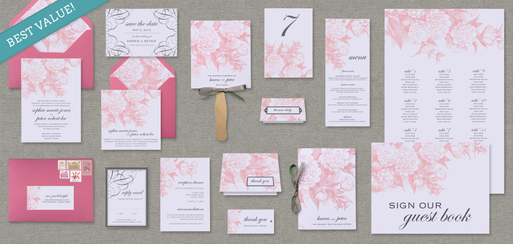 15-Piece Garden Rose Wedding Stationery Template
