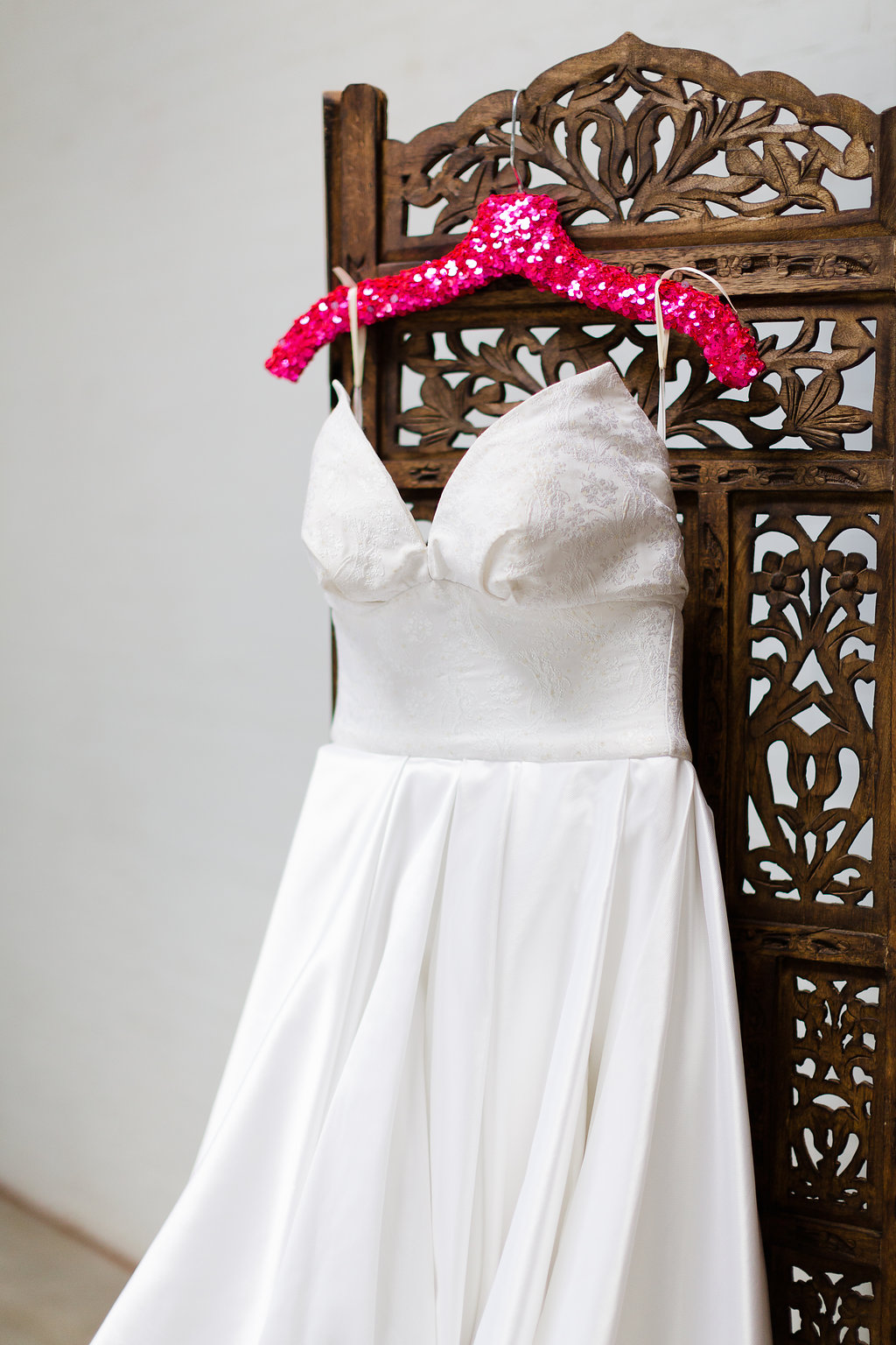 Neon Wedding Inspiration / hot pink sequin hanger by Frou Frou Frill / photo by Jessica Haley Photography