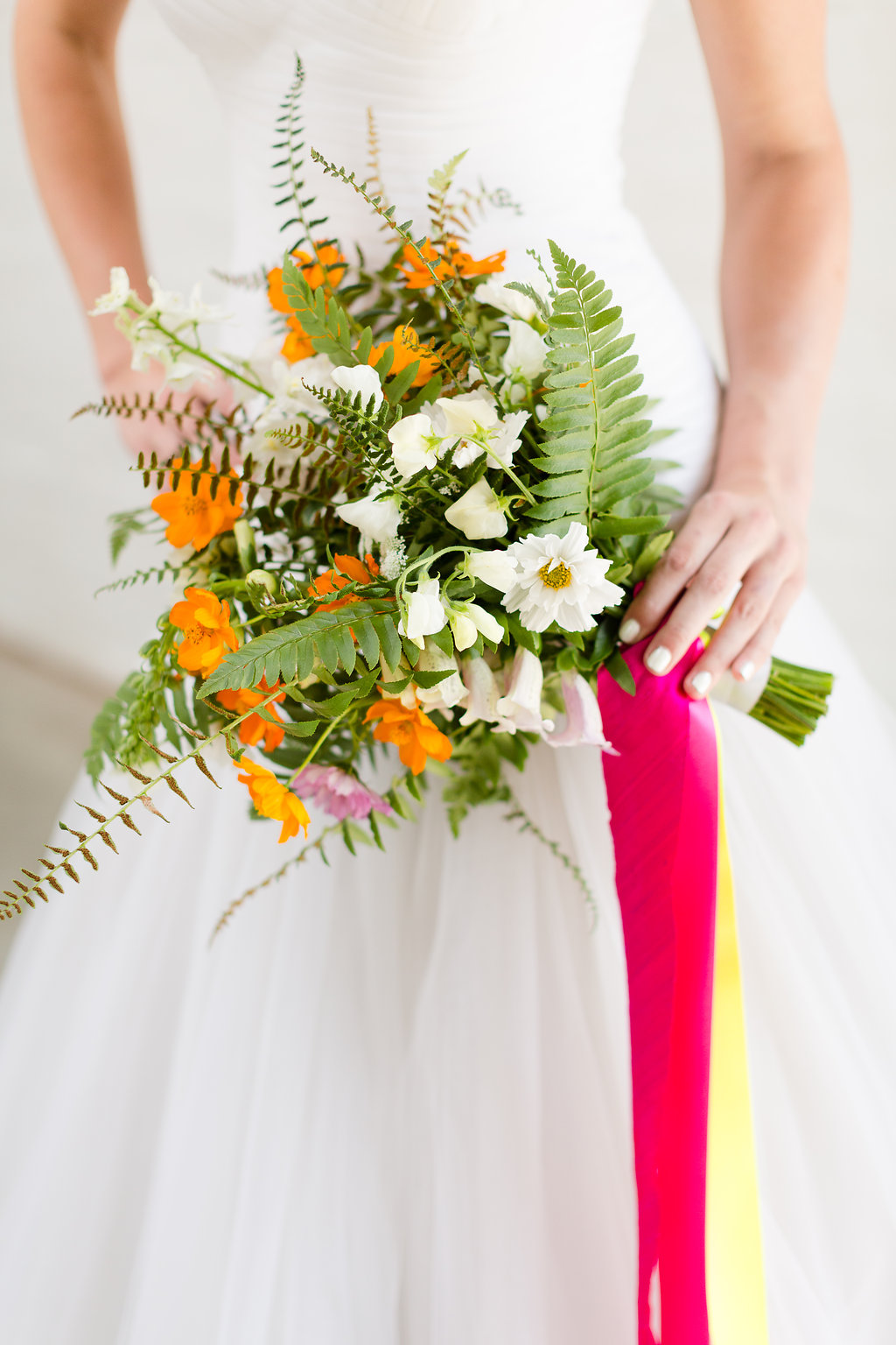 Neon Wedding Bouquet by Taproot Flowers / photo by Jessica Haley Photography