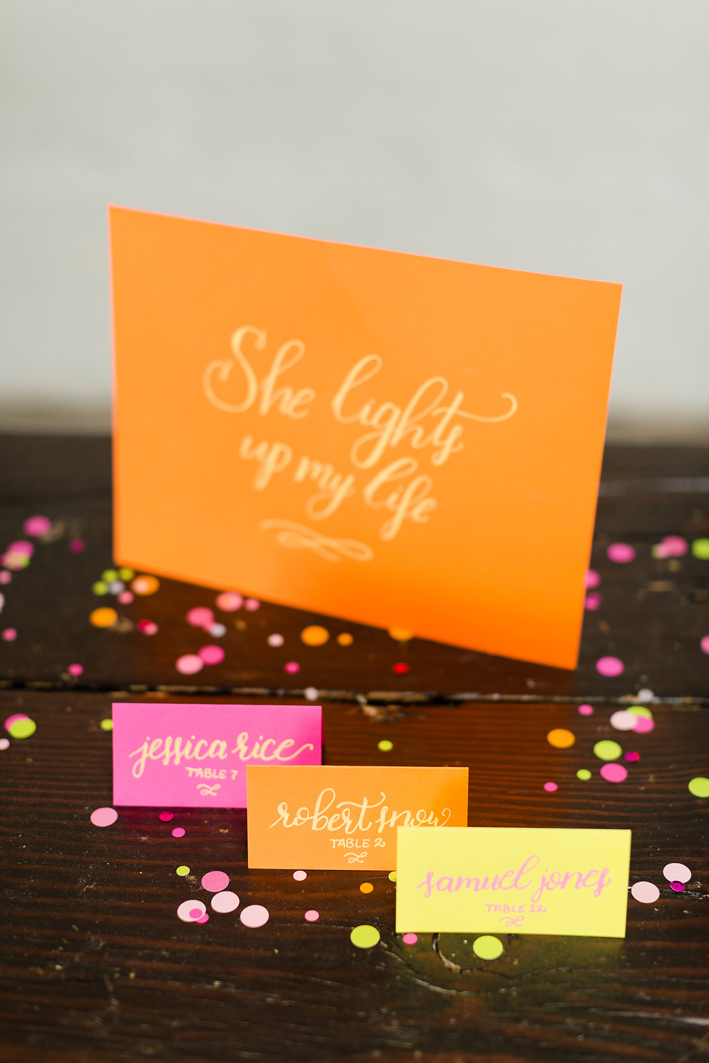 Neon Wedding Inspiration / festive-fetti™ confetti by The Marketplace on Brenda's Wedding Blog / stationery by Darling & Bliss / photo by Jessica Haley Photography