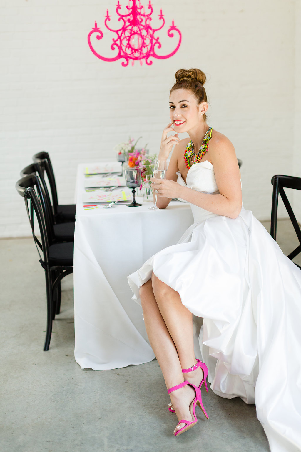Neon Wedding Inspiration with Decor by Chandelier by NK / photo by Jessica Haley Photography