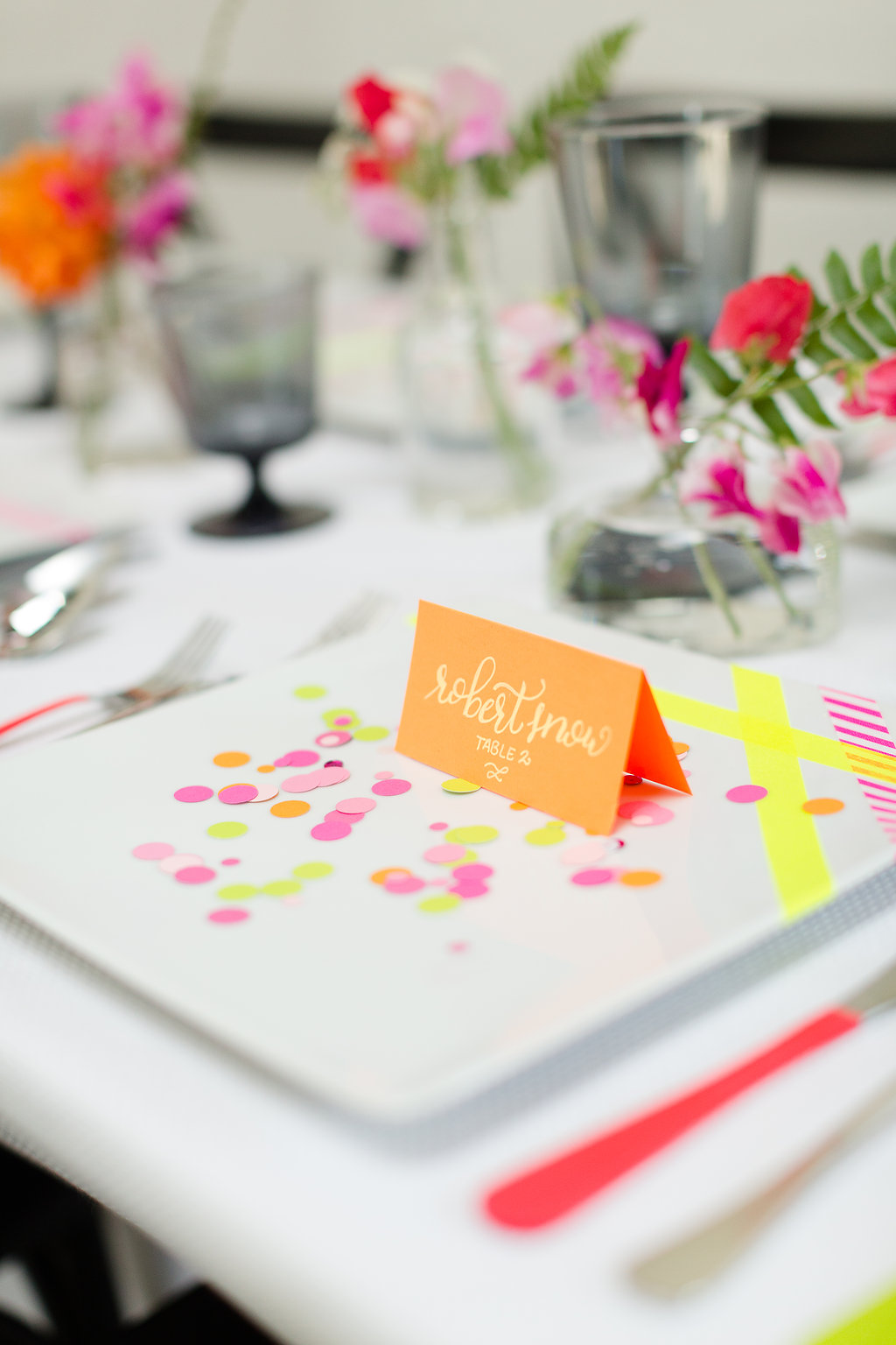 Neon Wedding Inspiration / designed by Ashley Peraino + Ivey Weddings & Events / photo by Jessica Haley Photography