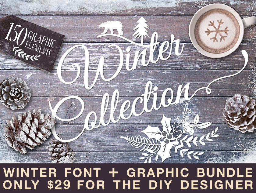 Design your holiday party printables and invitations with this winter font and graphic bundle - only $29