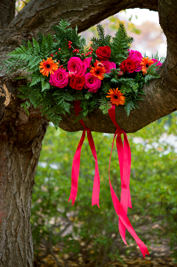 Rustic Wedding Styled Shoot with Pomegranates + Bright Bold Colors / Flowers by EightTreeStreet / photo by Evelyn Alas Photography